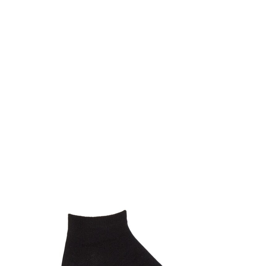 Boys and Girls 1 Pair SOCKSHOP Plain Bamboo No Show Socks with Smooth Toe Seams Black 4-5.5 Kids (13-14 Years)