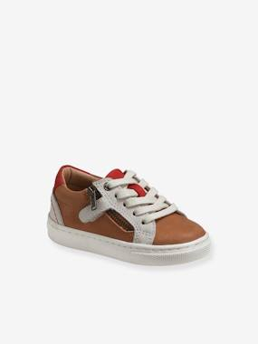 Leather Trainers for Baby Boys brown medium solid with design
